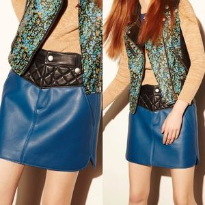COACH 100% All leather Blue and black hem skirt 4